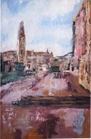 Plaza Portugalete (Valladolid), óleo sobre tabla, 81 x 120