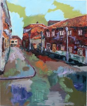 Calle Caballeros 2 (Laguna de Duero), óleo y acrílico sobre lienzo, 81 x 100