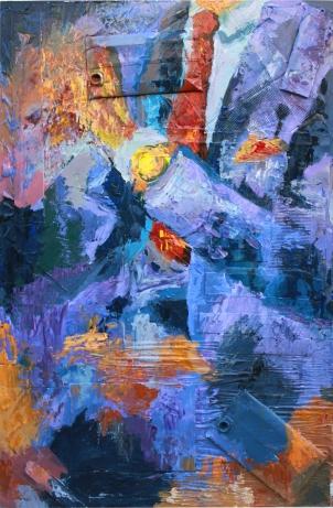 """Crisis, óleo, acrílico y collage sobre tabla, 81 x 120. Realizado para la exposición """"Arte para una crisis"""""""