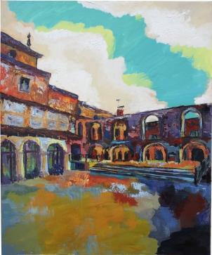 Patio de La Merced (Olmedo), óleo y acrílico sobre lienzo, 81 x 100