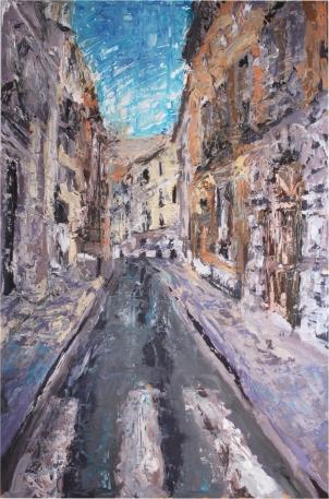 Calle San Ignacio (Valladolid), óleo sobre tabla, 81 x 120