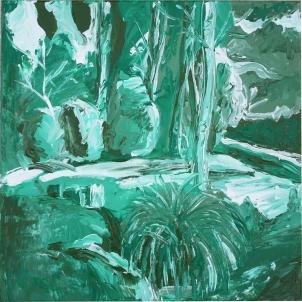 Bosque verde, acrílico sobre lienzo, 40 x 40