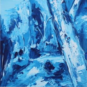 Bosque azul, acrílico sobre lienzo, 40 x 40