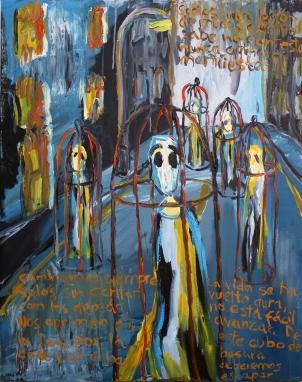 Legión de mudos, acrílico sobre lienzo, 73 x 92