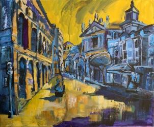 Teatro Calderón de Valladolid, acrílico sobre lienzo, 100 x 81