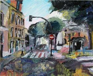 Calle San Quirce, Valladolid, acrílico sobre tabla, 100 x 81