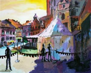 Feria Renacentista Medina del Campo, acrílico sobre tabla, 100 x 81