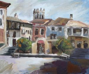 Plaza España de Baltanás, óleo sobre lienzo, 100 x 81