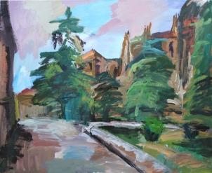 Plaza Anaya, Salamanca, acrílico sobre lienzo, 100 x 81