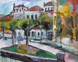 Plaza Rinconada (Concurso Pintura Rápida San Pedro Regalado), acrílico y collage sobre lienzo, 100 x 81