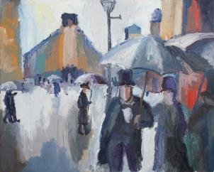 1877 Gustave Caillebotte - Calle de París, día lluvioso