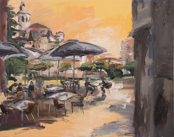 Terraza junto a La Antigua, óleo sobre lienzo, 100 x 81, 2019